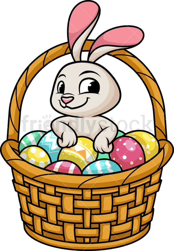 Cute bunny in basket with easter eggs. PNG - JPG and vector EPS (infinitely scalable).