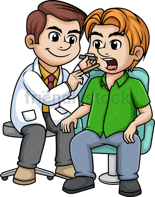 Doctor checking the throat of a patient. PNG - JPG and vector EPS (infinitely scalable).