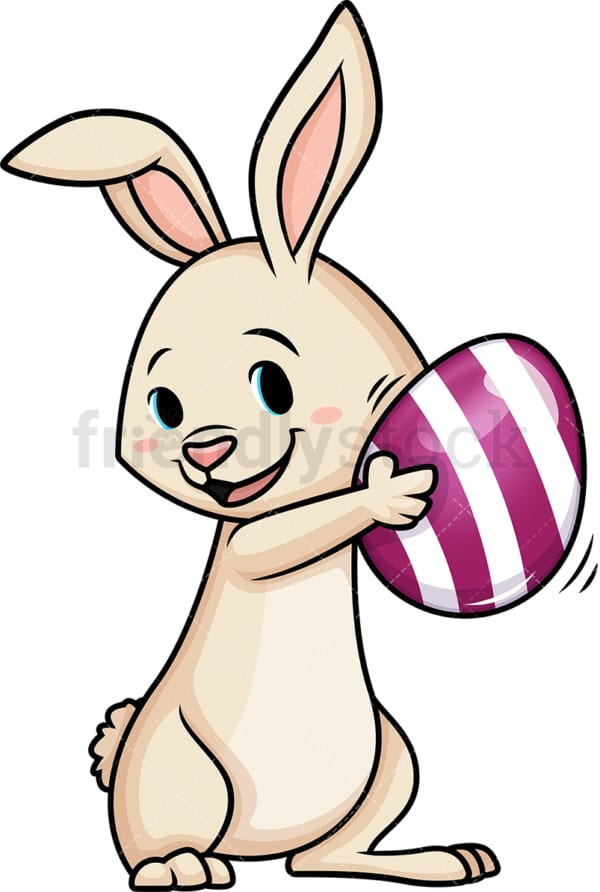 Easter bunny shaking Easter egg. PNG - JPG and vector EPS (infinitely scalable).