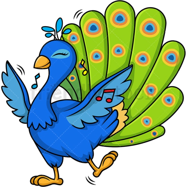 Peacock dancing. PNG - JPG and vector EPS (infinitely scalable).