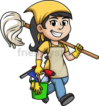 Cleaning lady. PNG - JPG and vector EPS (infinitely scalable).