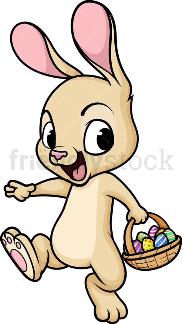 Easter bunny with basket of eggs. PNG - JPG and vector EPS (infinitely scalable). Image isolated on transparent background.