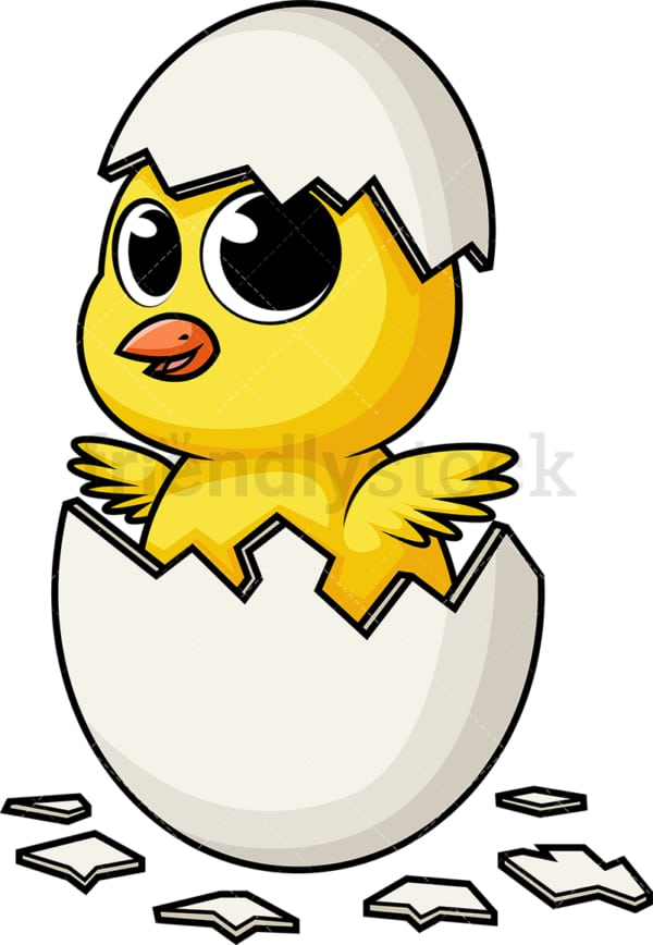 Easter chicken hatching out of eggshell. PNG - JPG and vector EPS (infinitely scalable).