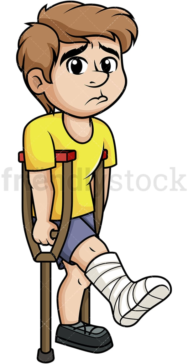 Injured man with crutches. PNG - JPG and vector EPS (infinitely scalable).