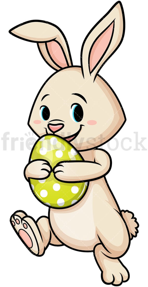 Joyful easter bunny with egg. PNG - JPG and vector EPS (infinitely scalable).