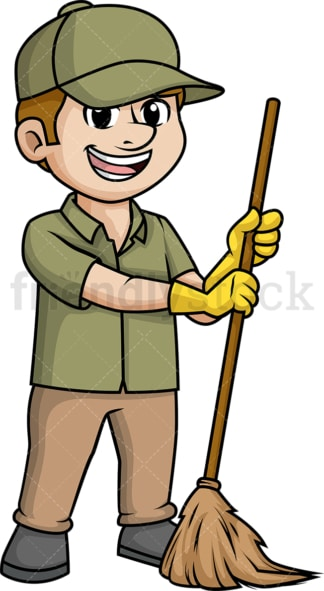 Man sweeping with broom. PNG - JPG and vector EPS (infinitely scalable).