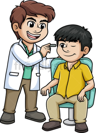 Ophthalmologist examining a patient. PNG - JPG and vector EPS (infinitely scalable).