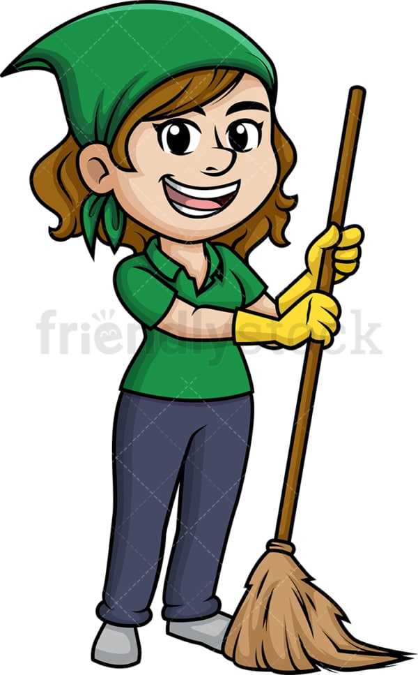 Woman sweeping the floor with broom. PNG - JPG and vector EPS (infinitely scalable).