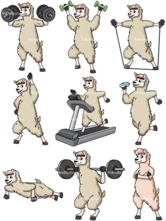 Fitness llama. PNG - JPG and vector EPS file formats (infinitely scalable).