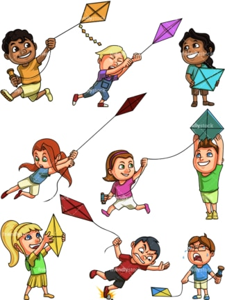 Kids flying kites. PNG - JPG and vector EPS file formats (infinitely scalable). Image isolated on transparent background.