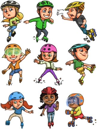 Kids roller skating. PNG - JPG and vector EPS file formats (infinitely scalable). Image isolated on transparent background.