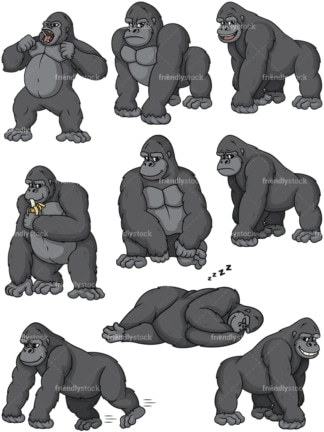 Wild gorillas. PNG - JPG and vector EPS file formats (infinitely scalable).