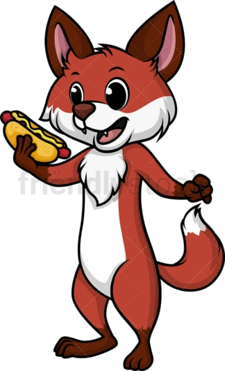 Fox eating a hot dog. PNG - JPG and vector EPS (infinitely scalable).