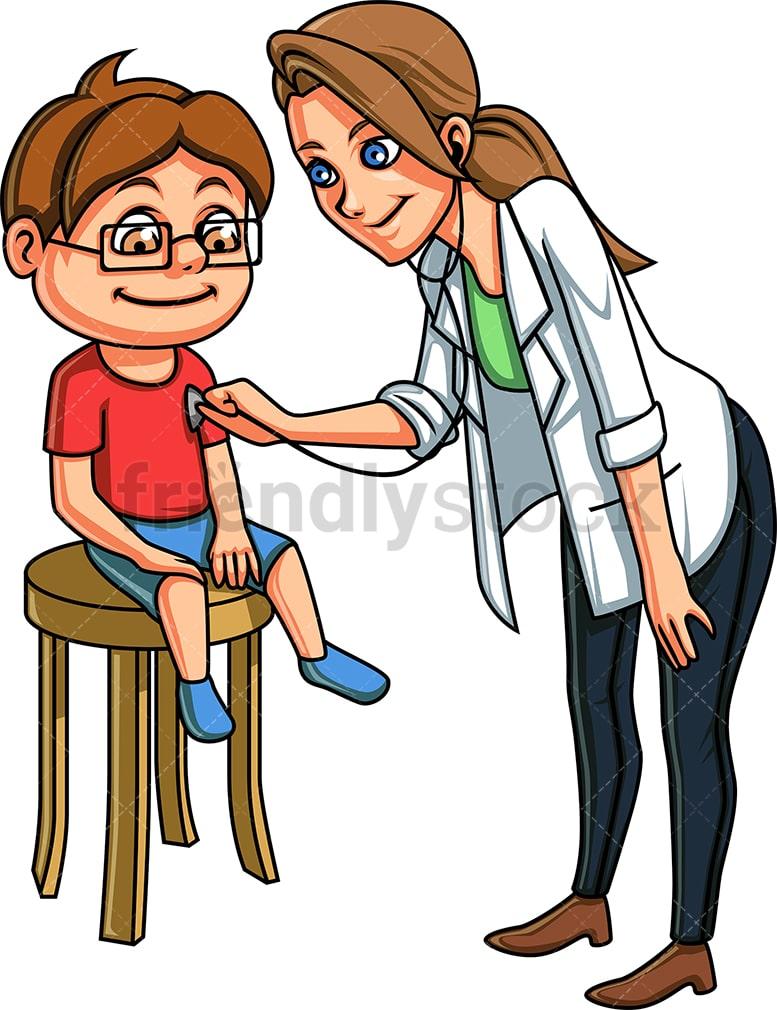Kid At The Doctor Cartoon Vector Clipart - FriendlyStock