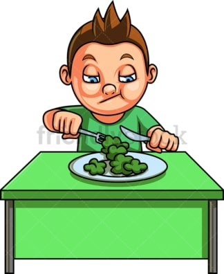 Kid eating broccoli. PNG - JPG and vector EPS file formats (infinitely scalable). Image isolated on transparent background.
