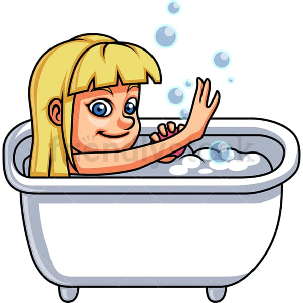 Little girl having a bath. PNG - JPG and vector EPS file formats (infinitely scalable). Image isolated on transparent background.