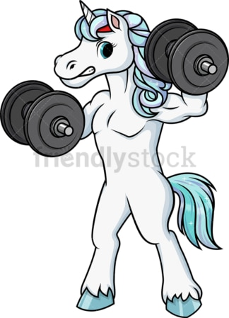 Unicorn lifting dumbbells. PNG - JPG and vector EPS (infinitely scalable).