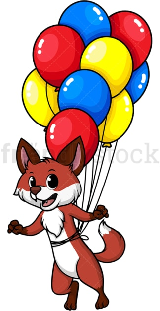 Fox flying with balloons. PNG - JPG and vector EPS (infinitely scalable).