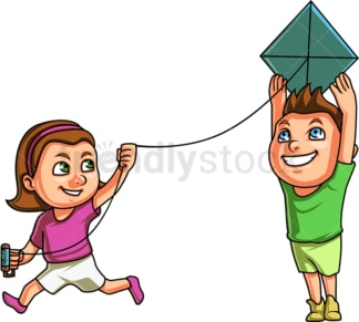 Kids flying kite. PNG - JPG and vector EPS (infinitely scalable). Image isolated on transparent background.