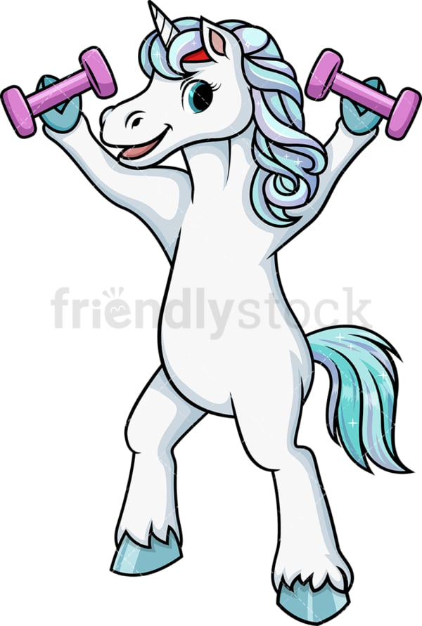 Unicorn lifting weights. PNG - JPG and vector EPS (infinitely scalable).