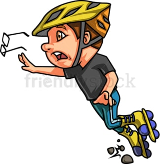 Boy falling while roller skating. PNG - JPG and vector EPS. Isolated on transparent background.