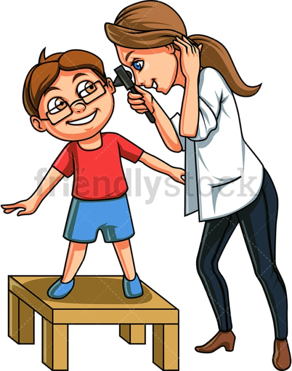 Boy having ears checked by doctor. PNG - JPG and vector EPS file formats (infinitely scalable). Image isolated on transparent background.