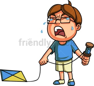 Crying kid with kite. PNG - JPG and vector EPS (infinitely scalable). Image isolated on transparent background.