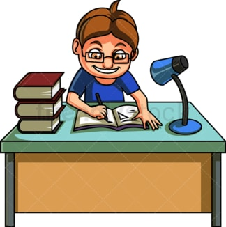 Little boy doing homework. PNG - JPG and vector EPS file formats (infinitely scalable). Image isolated on transparent background.
