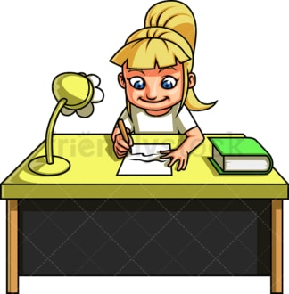 Little girl doing her schoolwork. PNG - JPG and vector EPS file formats (infinitely scalable). Image isolated on transparent background.