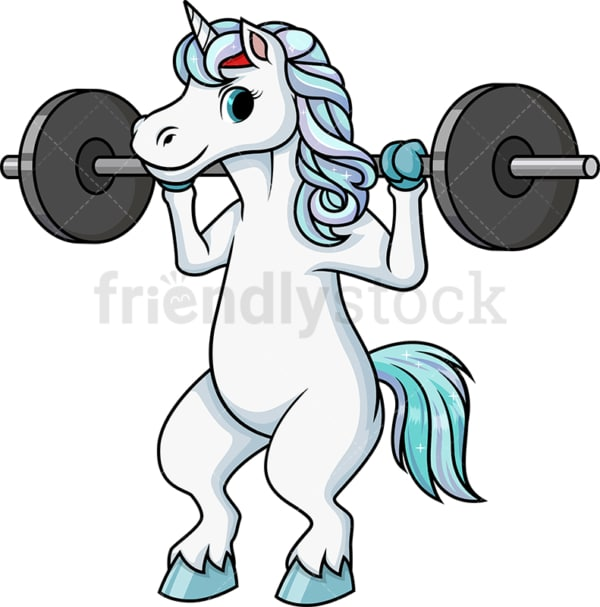 Unicorn doing squats with barbell. PNG - JPG and vector EPS (infinitely scalable).