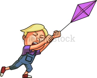 Boy flying kite. PNG - JPG and vector EPS (infinitely scalable). Image isolated on transparent background.