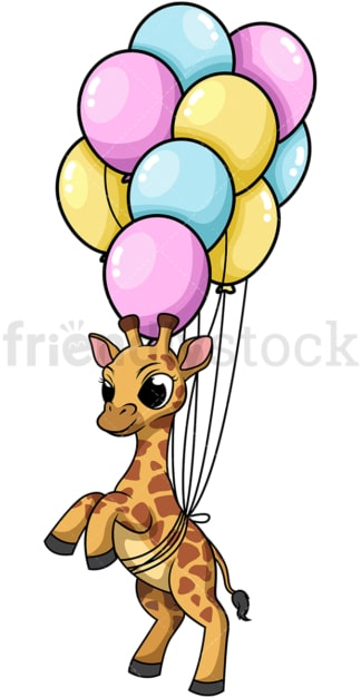Giraffe with balloons. PNG - JPG and vector EPS (infinitely scalable).