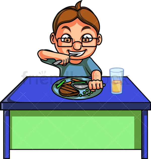 Little boy having dinner. PNG - JPG and vector EPS file formats (infinitely scalable). Image isolated on transparent background.