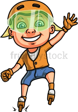 Little boy on roller skates. PNG - JPG and vector EPS. Isolated on transparent background.