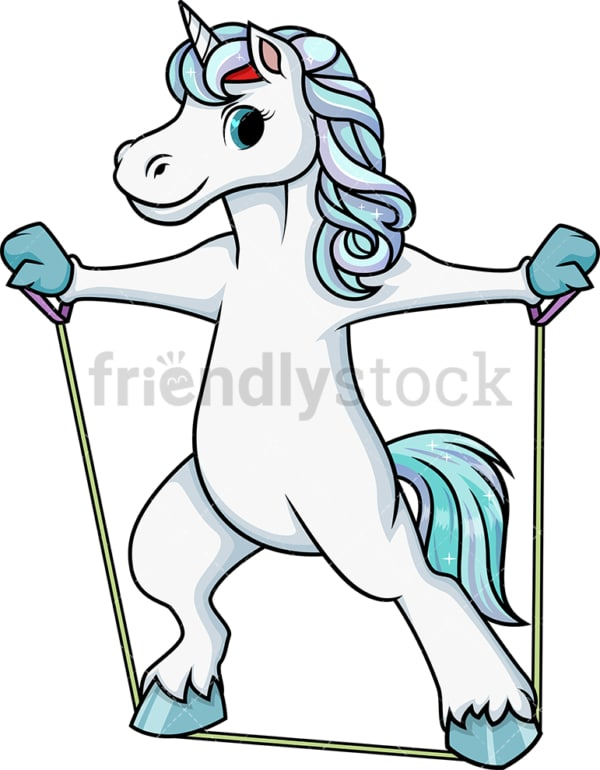 Unicorn working out with resistance bands. PNG - JPG and vector EPS (infinitely scalable).