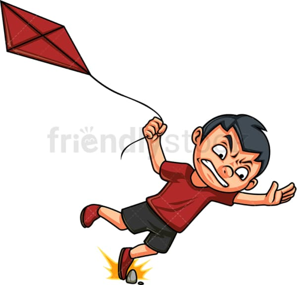 Boy trying to fly kite. PNG - JPG and vector EPS (infinitely scalable). Image isolated on transparent background.