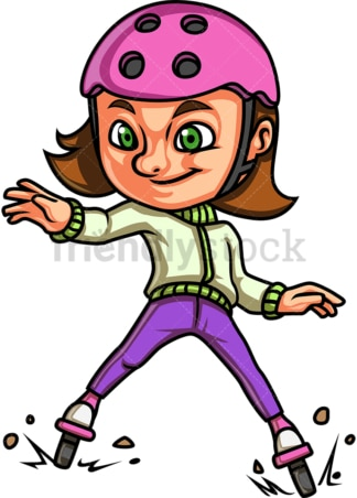 Cute girl roller skating. PNG - JPG and vector EPS. Isolated on transparent background.