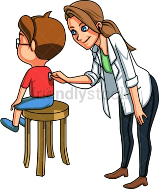 Pediatrician listening to kid's back. PNG - JPG and vector EPS file formats (infinitely scalable). Image isolated on transparent background.