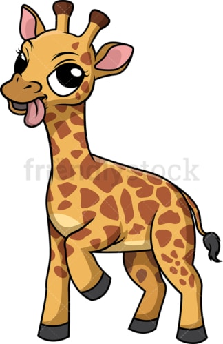 Giraffe with tongue out. PNG - JPG and vector EPS (infinitely scalable).