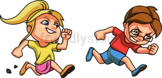 Girl chasing boy. PNG - JPG and vector EPS file formats (infinitely scalable). Image isolated on transparent background.