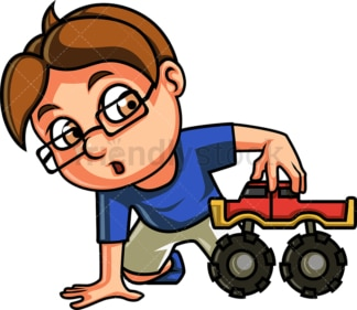 Little boy playing with monster truck. PNG - JPG and vector EPS file formats (infinitely scalable). Image isolated on transparent background.