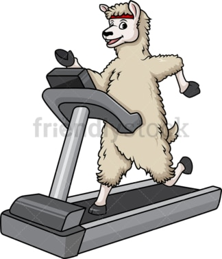 Llama running on treadmill. PNG - JPG and vector EPS (infinitely scalable).