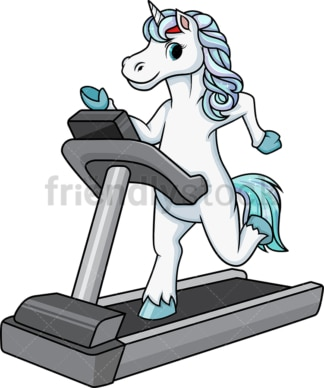 Unicorn running on treadmill. PNG - JPG and vector EPS (infinitely scalable).