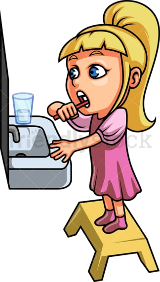 Cute girl brushing her teeth. PNG - JPG and vector EPS file formats (infinitely scalable). Image isolated on transparent background.