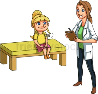 Doctor taking girl's temperature. PNG - JPG and vector EPS file formats (infinitely scalable). Image isolated on transparent background.