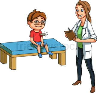 Doctor taking kid's temperature. PNG - JPG and vector EPS file formats (infinitely scalable). Image isolated on transparent background.