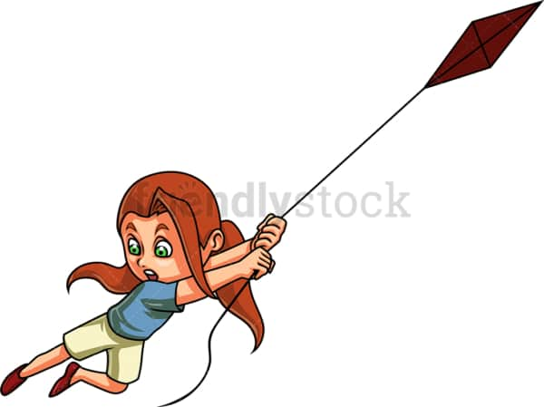 Girl trying to fly kite. PNG - JPG and vector EPS (infinitely scalable). Image isolated on transparent background.