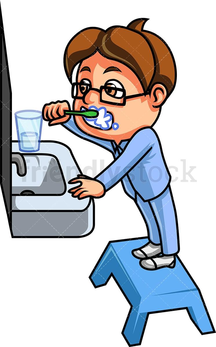 Kid Brushing His Teeth Cartoon Vector Clipart - FriendlyStock