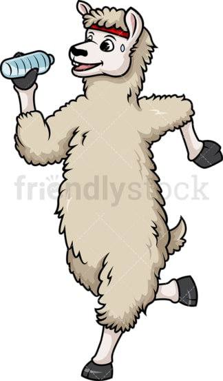 Llama jogging. PNG - JPG and vector EPS (infinitely scalable).