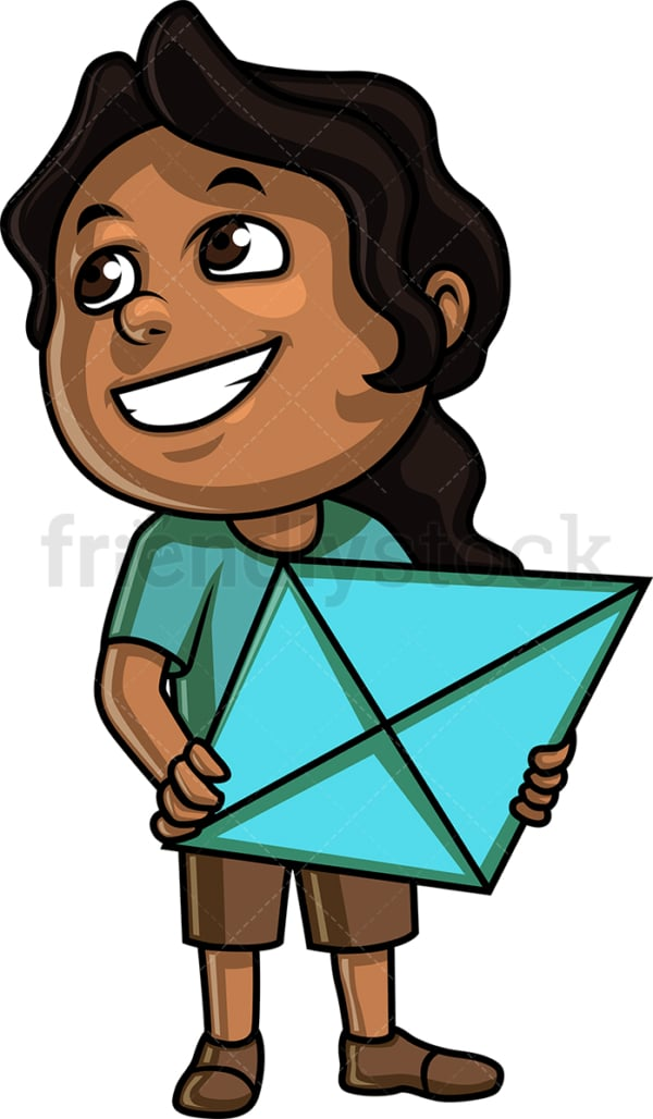Black girl holding kite. PNG - JPG and vector EPS (infinitely scalable). Image isolated on transparent background.